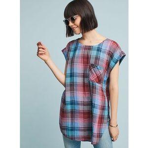 Akemi & Kin Plaid Split Hem Tunic Womens XS